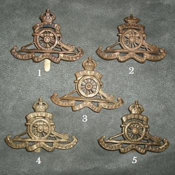 British Royal Artillery Cap Badges - Military and Wartime