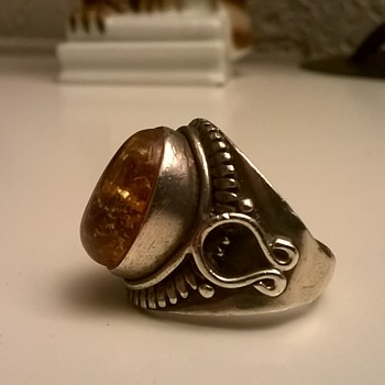 Sterling Silver/Amber Ring, Saddle Design Flea Market Find - Fine Jewelry