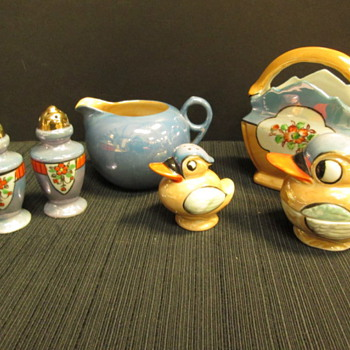 7pc Vintage Blue and Gold Lusterware Pieces with Markings made in Japan