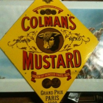 Vintage Enamel COLMAN&#039;S MUSTARD sign 1977.