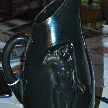 Black Pitcher with nude woman - Art Pottery