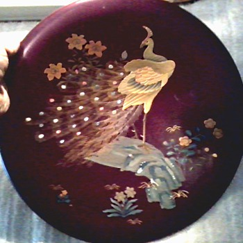 "Beautiful 13"" Japanese Maruni Co. Lacquer Ware Charger / Inlaid MOP Peacock Design on Metal/ Circa 1940's"