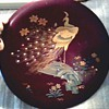 """Beautiful 13"""" Japanese Maruni Co. Lacquer Ware Charger / Inlaid MOP Peacock Design on Metal/ Circa 1940's"""