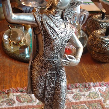 Silver colored Thai Woman  Dancing statue - Asian