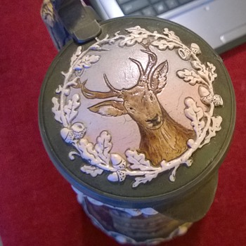 Hunting Scene, etched inlay stein with 4 mugs - Breweriana