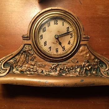 Spelter Promotional Clock for Herkimer Bank - Advertising