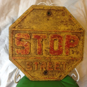 "Cast iron 18"" stop street sign - Signs"