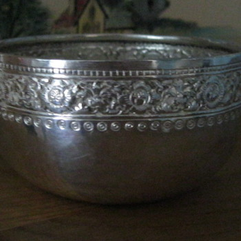 new purchase repousse silver bowl 