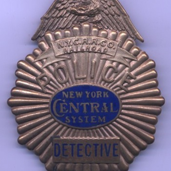 1930&#039;s New York Central Railroad Police Detective badge with custom logo center