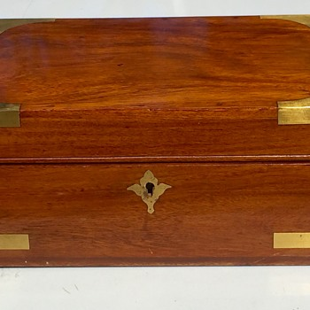 Antique 1870's African Cherry Brass Strapped Jewelry Box Beautiful Color of Exotic Wood