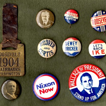 Political Campaign Buttons 1904-1972 - Medals Pins and Badges
