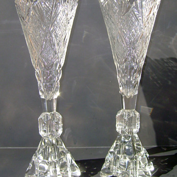 Pair of Antique Crystal Vases