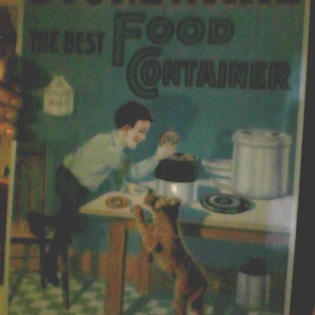 STONEWARE the best FOOD CONTAINER antique tin sign