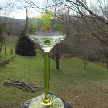 Wine stems Blown Uranium with hand painted stained glass grapes ?