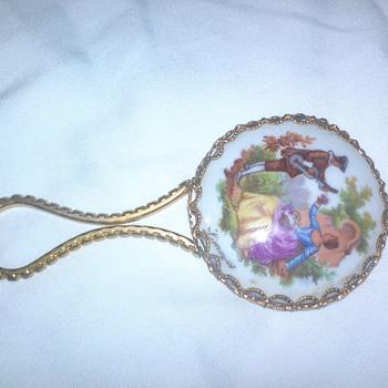 """vintage Limoges porcelain hand mirror. """"serenade"""""""