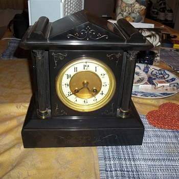Antique Black Marble Mantle Clock - Clocks