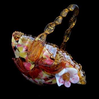 Stevens Williams Applied Glass End of Days Brides Basket - Art Glass