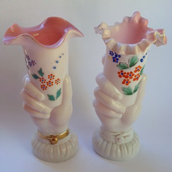 Victorian cased glass hand vases with painted decoration