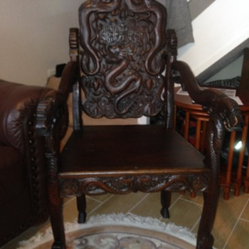 Heavily carved table and chairs Oriental.  - Asian