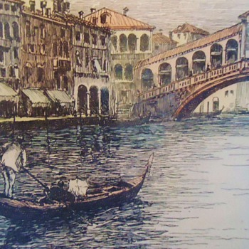 Venice! Lithograph Etching, Pencil titled and signed!  By Who?
