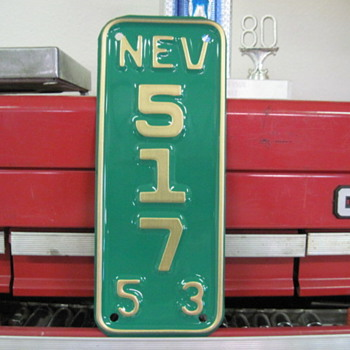 1953 Nevada Motorcycle License Plate - Signs