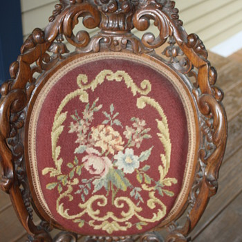 Needlepoint Chair  carved wood - Furniture