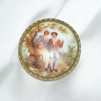 Vintage Porcelain Brooch - Costume Jewelry