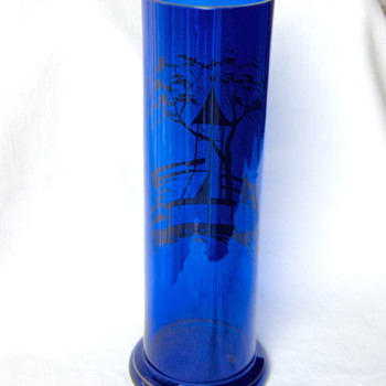 Wiener Werkstatte 1921+ Tall Cobalt Czech Glass Silver Residue Gazebo Vase Marked - Art Glass