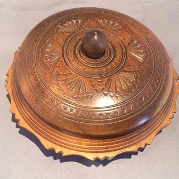 Antique wooden carved lidded bowl.
