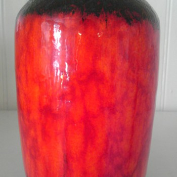 Fire red~ Scheurich-West German pottery vase