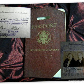 "UNITED STATES PASSPORT WITH ""HINDENBURG LZ129"" AIRSHIP STAMP - Paper"