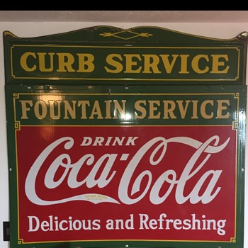 1930s Coca Cola Fountain Service & Curb Service Sign