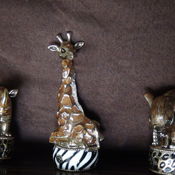 Brass, enameled wine stoppers-Anyone know who these are by? - Animals