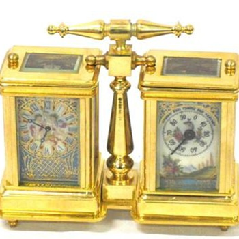my ormolu sevres style side by side carriage clock/barometer - Clocks