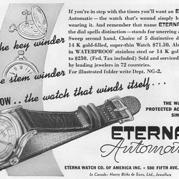 1948 - Eterna Wristwatch Advertisement - Advertising