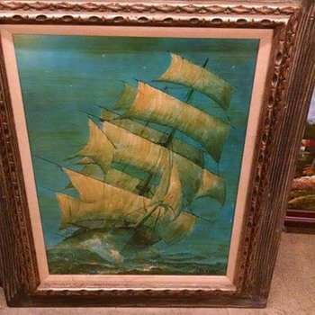 Ship painting possibly  by artist Violet Parkhurst  It's nice! - Visual Art