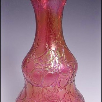"Art Nouveau Kralik Cranberry Crackle Iridescent Vase 8.50"" - Art Glass"