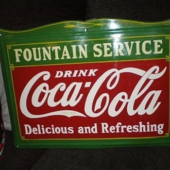 "18"" x 24"" Coca Cola Fountain Service Sign - Coca-Cola"