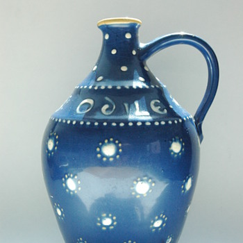 a rare art deco pottery jug for wine grower PIERRE WEISSENBURGER, by LEON ELCHINGER