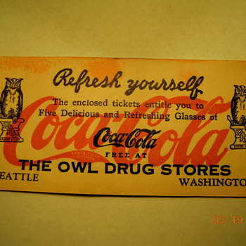 "Late 1920's, 2""x5"", Free Coca-Cola Coupon Book"