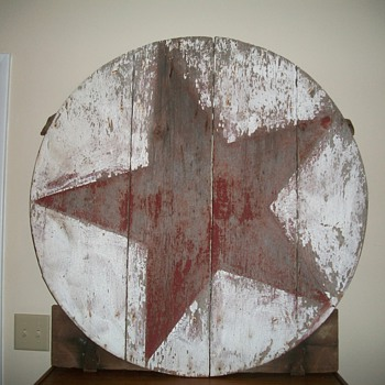 Round Barn Door with Original Paint Star - Folk Art
