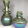 "Loetz ""Silberiris with Snake"" Vases. 11"" and 6.5"" tall. Circa 1899-1900"