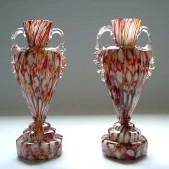 Octagonal Welz Trophy Vases Victorian Era - Art Glass