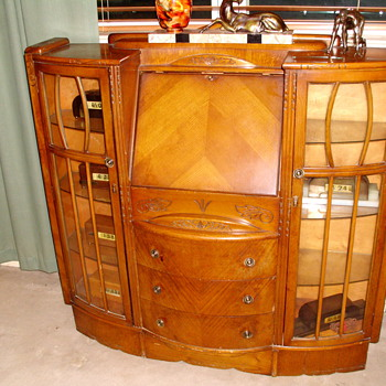 1930's Art Deco Secretary with curio cabinets - Furniture