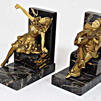 Set Of Art Deco Bookends, Harlequin, Pierott and Columbine