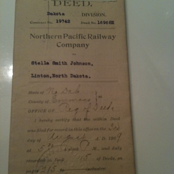 Northern Pacific Railways Deed  - Railroadiana