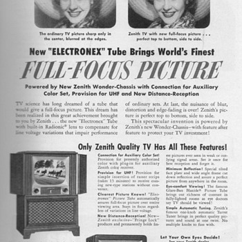 1951 - Zenith Televisions Advertisement - Advertising