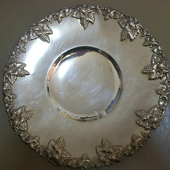 Silver Serving Tray with Hallmarks: Scissors, Crown and Horse?  Help Identify - Sterling Silver
