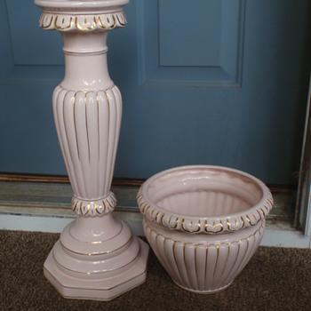 Faiarte Ceramics Jardiniere & Pedestal Mystery - Art Pottery