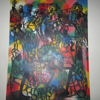 "Sisson Blanchard Haitian Artist - 40""x 30"" Women and Mangoes ?"